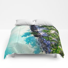 crystal water beach with palm trees Comforters