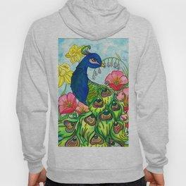peacock and flowers Hoody