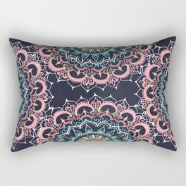 Pink, Cream & Soft Turquoise Glow Medallion on Navy Rectangular Pillow