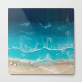 SERENITY BEACH - realistic resin seascape art, ocean art, coastal art, beach painting Metal Print
