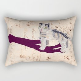 Vintage Fabric Stuffed Cat in Gouache Rectangular Pillow