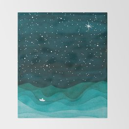 Starry Ocean, teal sailboat watercolor sea waves night Throw Blanket