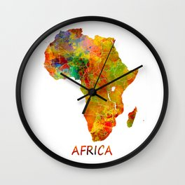 Africa map colored Wall Clock