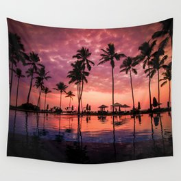 Paradise Sunset Tropical (Color) Wall Tapestry