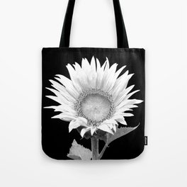 White Sunflower Black Background Tote Bag