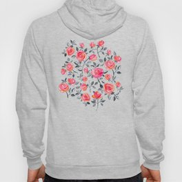 Roses on Black - a watercolor floral pattern Hoody