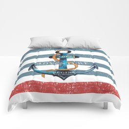 Maritime Design - Nautic Anchor on stripes in blue and red Comforters