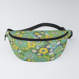 busy bunch blue green Fanny Pack