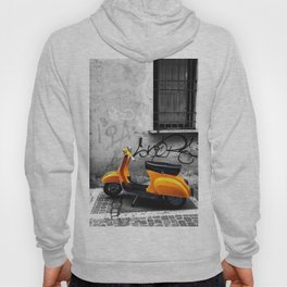 Orange Vespa in Bologna Black and White Photography Hoody