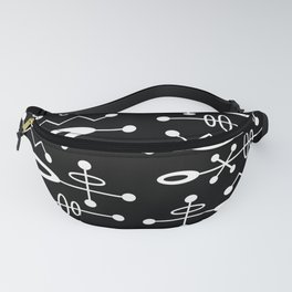 Mid Century Modern Radioactive Surfer 251 Black and White Fanny Pack