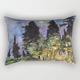 Campfire Under a Full Moon Rectangular Pillow