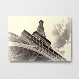 The famous Eiffel Tower in Paris, France in sepia. Vintage photography Metal Print