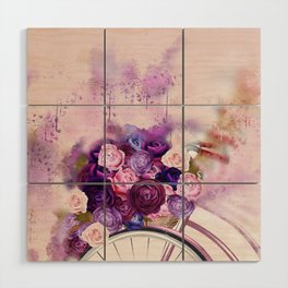 Vintag Bicycle and Flowers Wood Wall Art