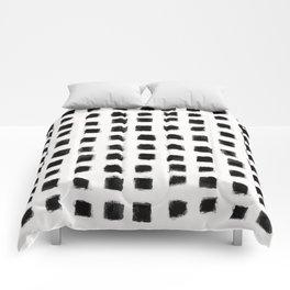 Polka Strokes - Black on Off White Comforters