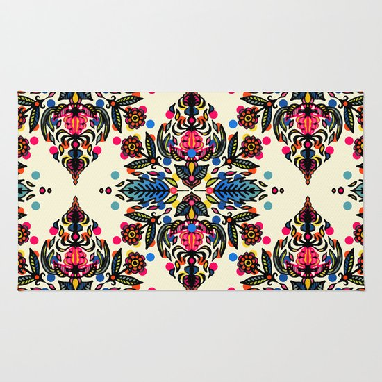 Bright Folk Art Pattern - hot pink, orange, blue & green Rug