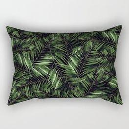 Tropical Palm Leaf Pattern on Black Background Rectangular Pillow