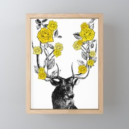 The Stag and Roses | Yellow Framed Mini Art Print