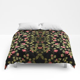 """Spring pink flowers and leaves - Black"" Comforters"