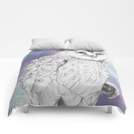 Owl with a third eye and crystal ball Comforters