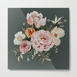 Loose Peonies and Poppies on Vintage Green Metal Print