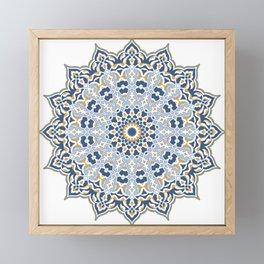 mandala blue and yellow Framed Mini Art Print