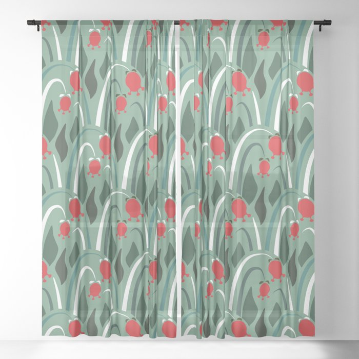 a lot of flowers for art deco mint Sheer Curtain