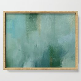 Abstract Blue and Green Colorscape Serving Tray