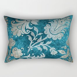 Aqua Teal Vintage Floral Damask Pattern Rectangular Pillow