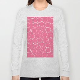 Circles Geometric Pattern Pink Bright White Long Sleeve T-shirt