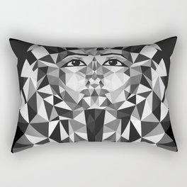 Black and White Tutankhamun - Pharaoh's Mask Rectangular Pillow