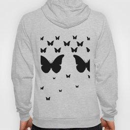 GOTHIC EBONY BLACK BUTTERFLIES & WHITE-BLACK ART Hoody