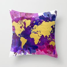 Pop of Color World Map Throw Pillow
