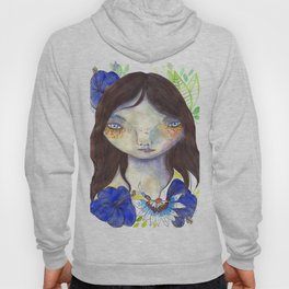 Girl and exotic blue flowers Hoody