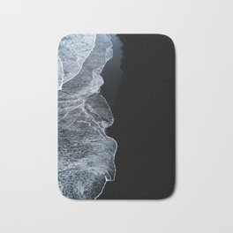 Waves on a black sand beach in iceland - minimalist Landscape Photography Bath Mat
