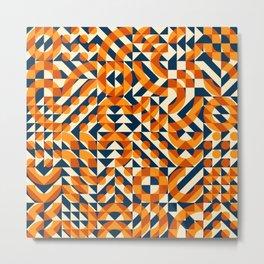 Orange Navy Color Overlay Irregular Geometric Blocks Square Quilt Pattern Metal Print