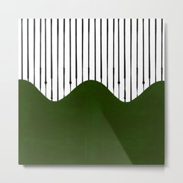 lines and wave (green) Metal Print