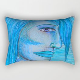 Art #blue Rectangular Pillow