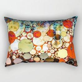 Contemporary Blue Orange Bubble Abstract Rectangular Pillow