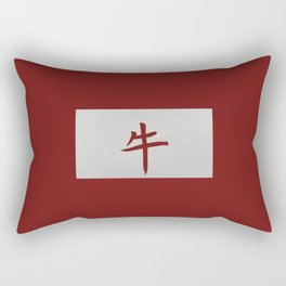 Chinese zodiac sign Ox red Rectangular Pillow