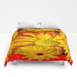 MODERN RED GOLDEN YELLOW SUNFLOWERS ART Comforters
