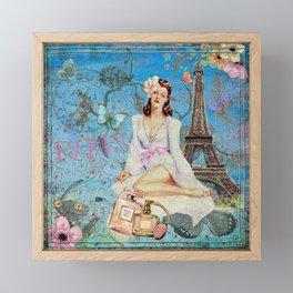 Paris - mon amour - Fashion Girl In France Eiffel tower Nostalgy - French Vintage Framed Mini Art Print