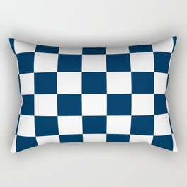 Checkered - White and Oxford Blue Rectangular Pillow