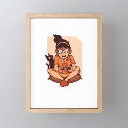 Funny Girl Gaming With Cat graphic, Gift For Girlfriend Gamer design Framed Mini Art Print