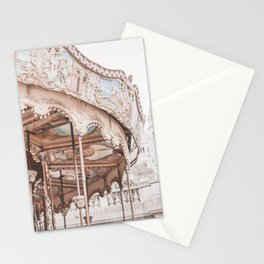 Montmartre Paris Carousel with Sacre Coeur Stationery Cards