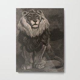 Lion illustration from L'art d'être grand-père - Victor Hugo - 1884 Metal Print