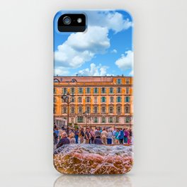 People in Nice Plaza with Fountain iPhone Case