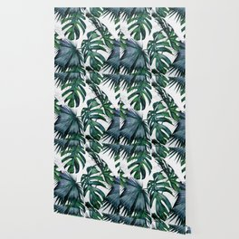 Tropical Palm Leaves Classic on Marble Wallpaper