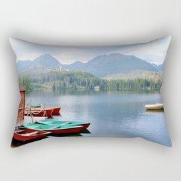 Boats on lake Rectangular Pillow
