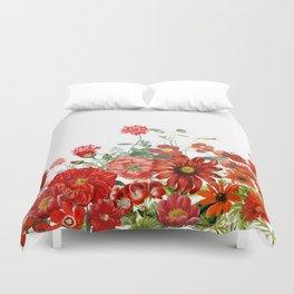 Vintage & Shabby Chic - Red Summer Flower Garden Duvet Cover