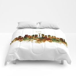Seattle Watercolor Skyline Poster Comforters